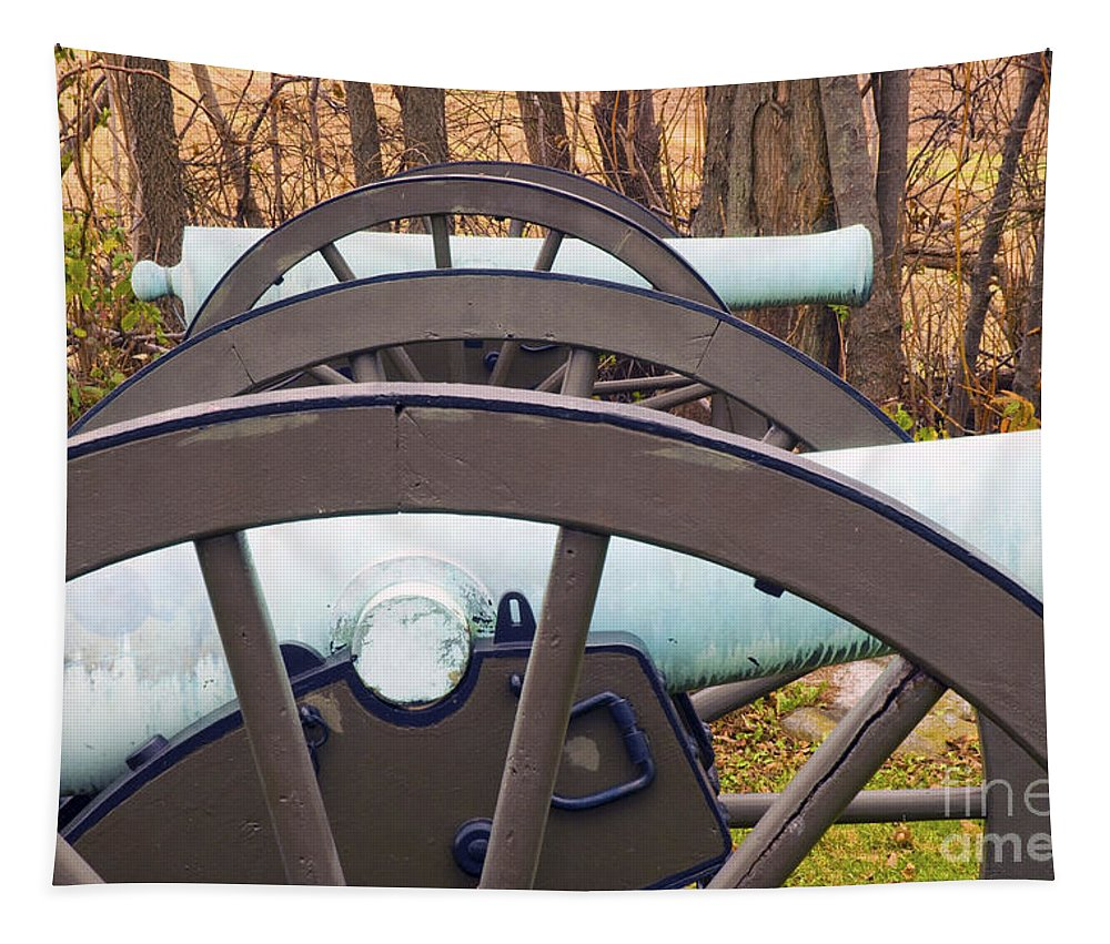 Cannon Tapestry featuring the photograph Twin Guns by Paul W Faust - Impressions of Light