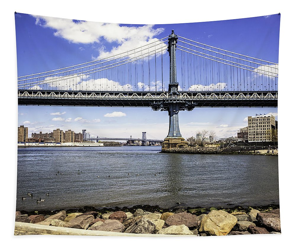 Williamsburg Tapestry featuring the photograph Two Bridges View - Manhattan by Madeline Ellis