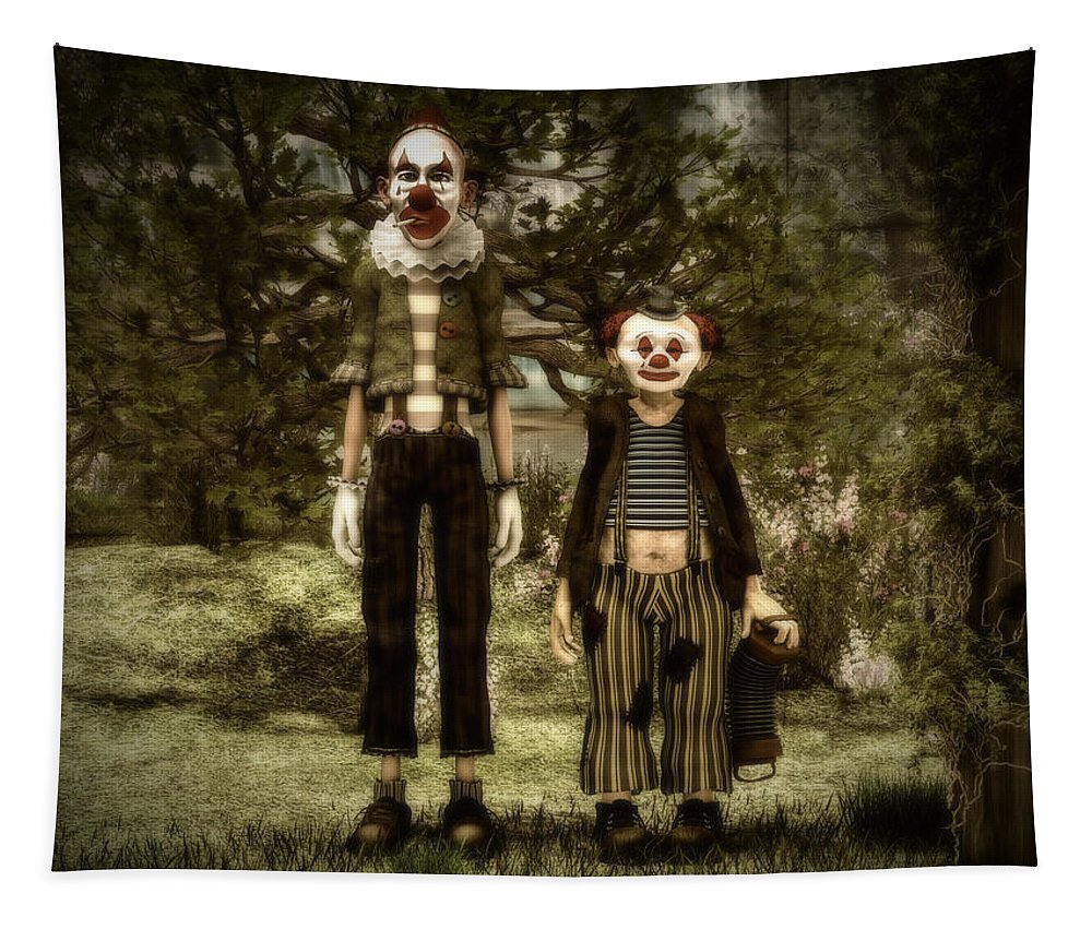 Clowns Tapestry featuring the digital art Two clowns in the forest. by Ramon Martinez