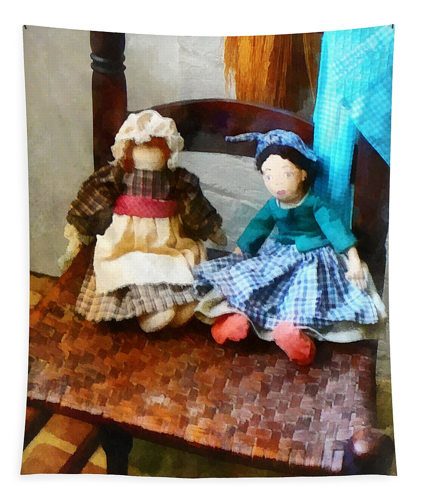 Doll Tapestry featuring the photograph Two Colonial Rag Dolls by Susan Savad