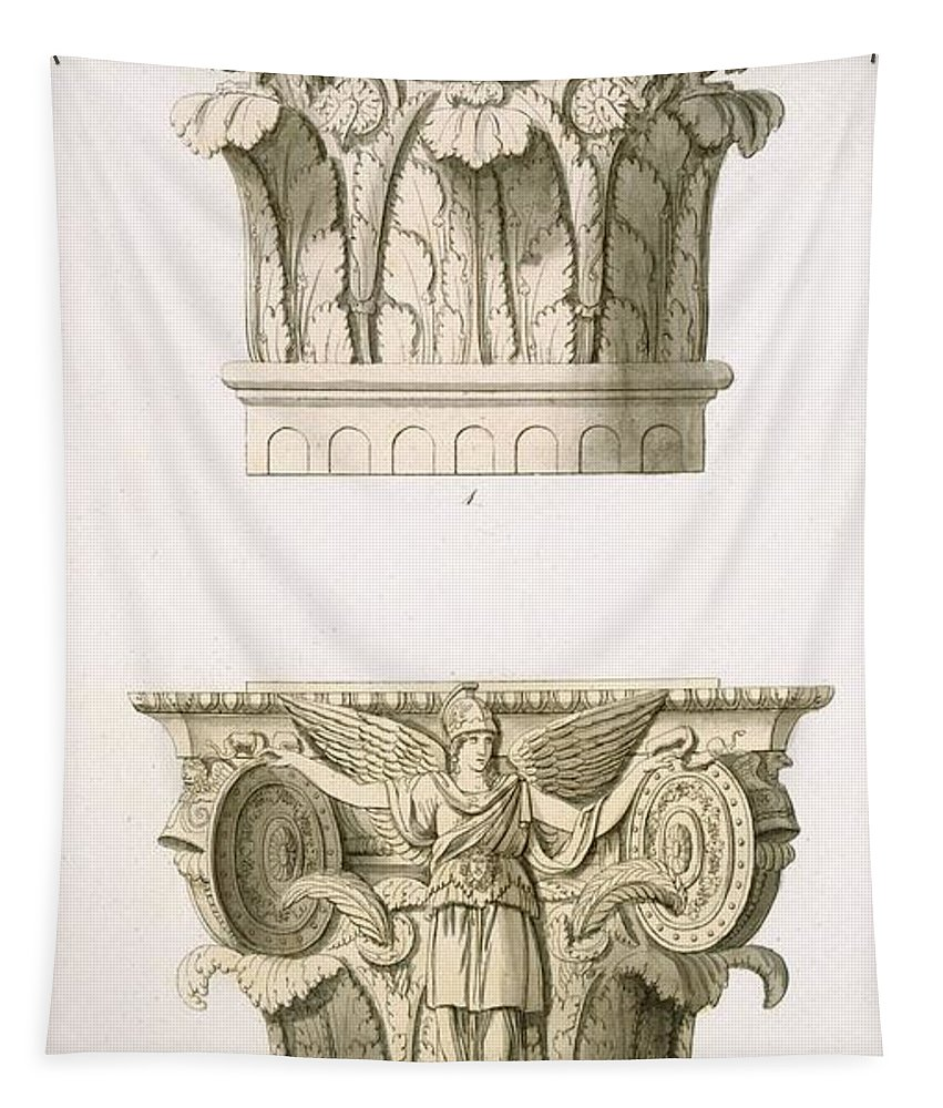 Architecture Tapestry featuring the drawing Two Column Capitals by English School