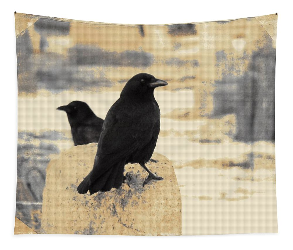 Graveyard Crows Tapestry featuring the photograph Two Graveyard Blackbirds by Gothicrow Images