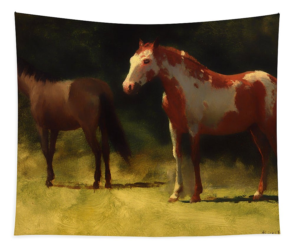 Horse Tapestry featuring the painting Two Horses by Mountain Dreams