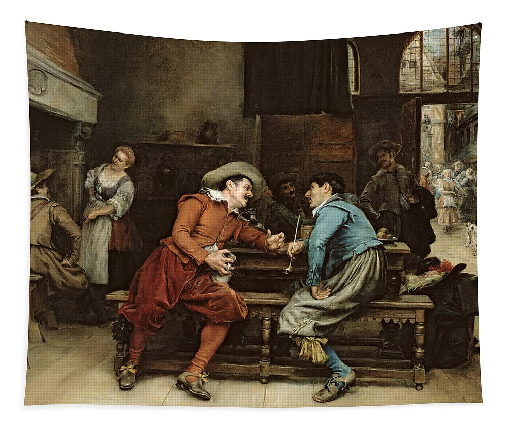 Pipe; Bench; Tankard; Drinking; Interior; Hat; Lace Collar; Inn Keeper's Daughter; Waitress Tapestry featuring the painting Two Men Talking In A Tavern by Jean Charles Meissonier
