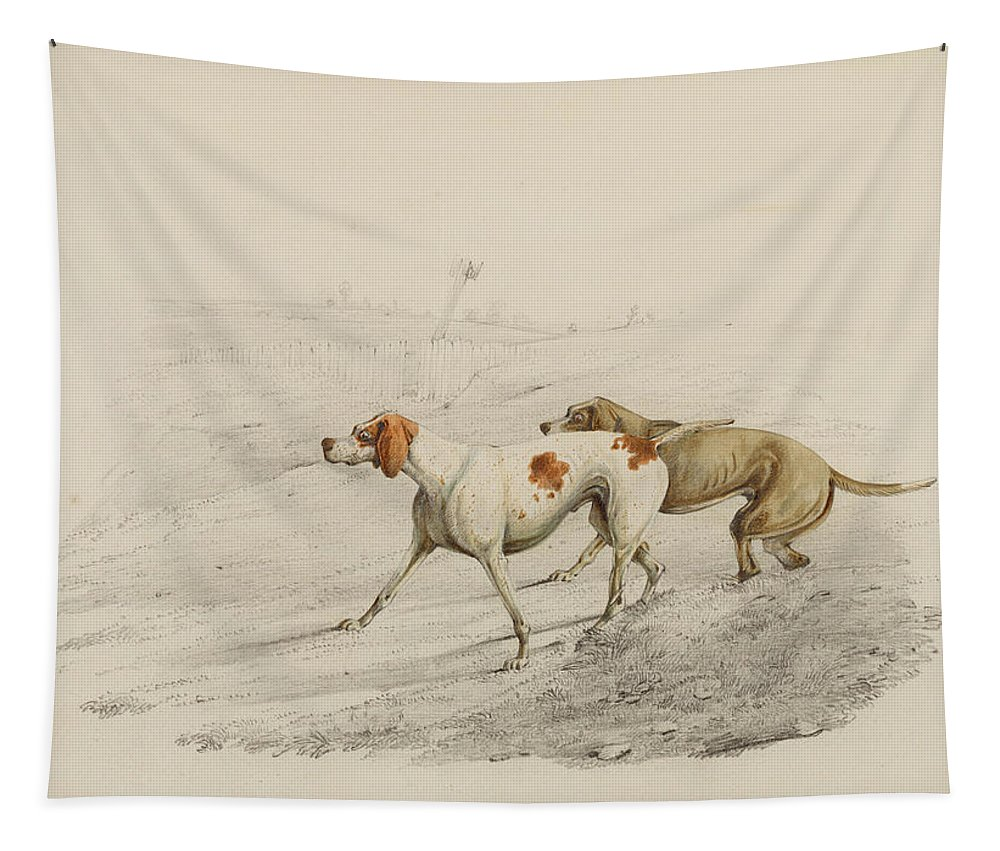 Pointer Dogs Tapestry featuring the painting Two Pointers by Henry Thomas Alken