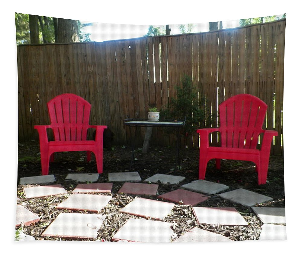 Chairs Near Fence Tapestry featuring the photograph Two Red Chairs by Elinor Helen Rakowski