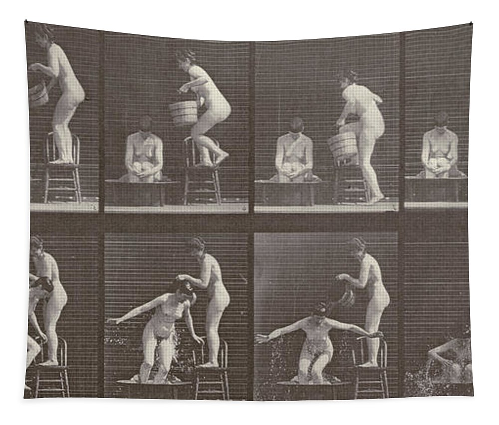Muybridge Tapestry featuring the photograph Two Women Bathing by Eadweard Muybridge