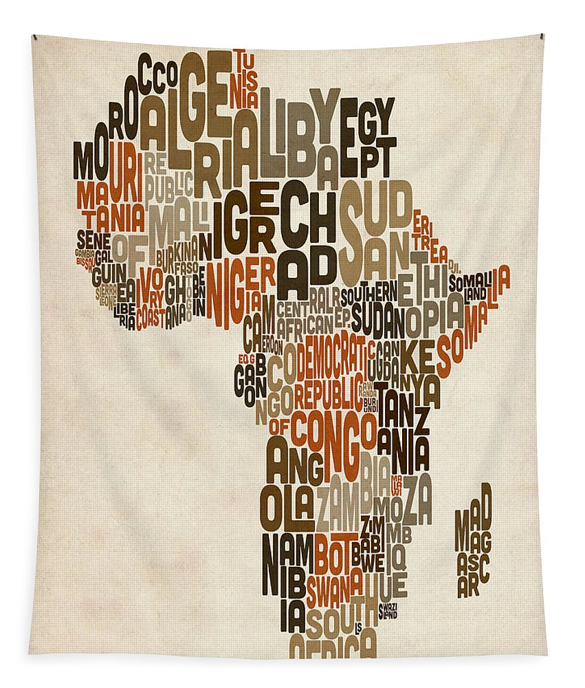Africa Map Tapestry featuring the digital art Typography Text Map Of Africa by Michael Tompsett