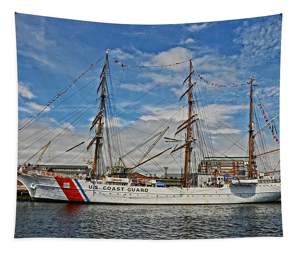 Cutter Tapestry featuring the photograph U S C G Barque Eagle by Mike Martin