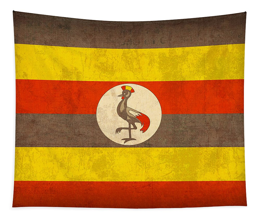Uganda Tapestry featuring the mixed media Uganda Flag Vintage Distressed Finish by Design Turnpike