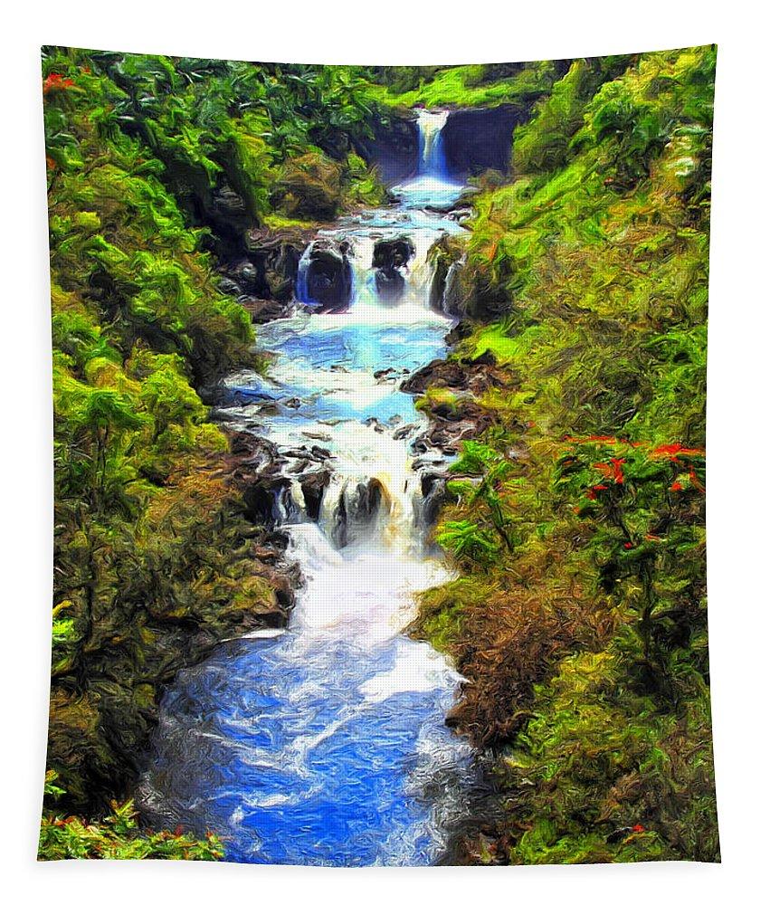 Umauma Tapestry featuring the painting Umauma Falls by Dominic Piperata