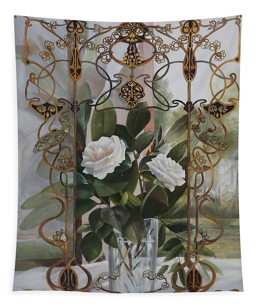 Liberty Glass Tapestry featuring the painting Una Finestra Liberty by Danka Weitzen