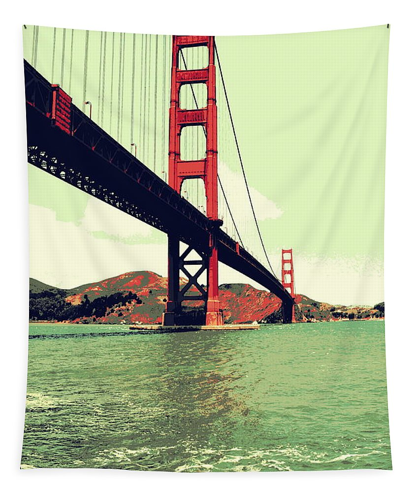 Golden Gate Bridge Tapestry featuring the photograph Under The Golden Gate by Michelle Calkins