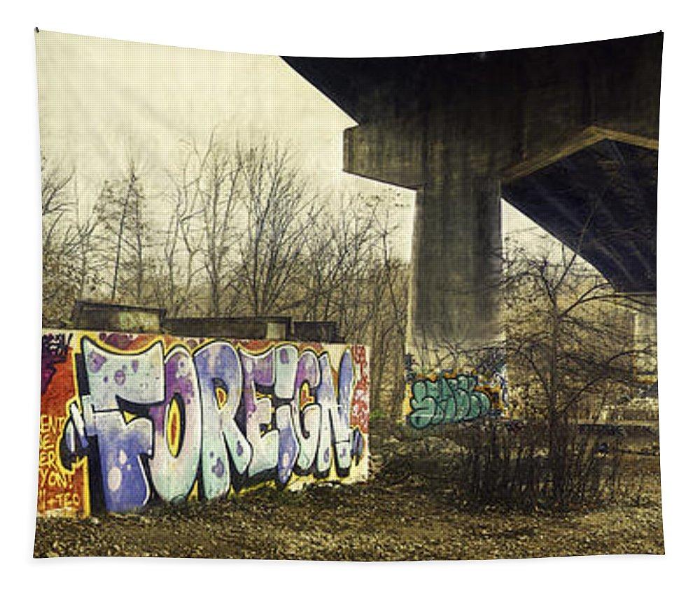 Graffiti Tapestry featuring the photograph Under The Locust Street Bridge by Scott Norris