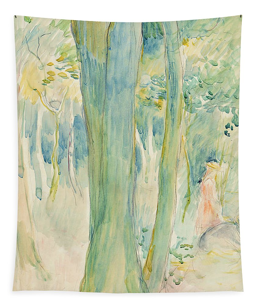 Tree Trunks; Woods; Wooded; Woodland; Forest; Canopy; Female; Kneeling; Gathering; Picking; Foraging; Shade; Shaded; Greenery; Berthe Morisot Tapestry featuring the painting Under The Trees In The Wood by Berthe Morisot
