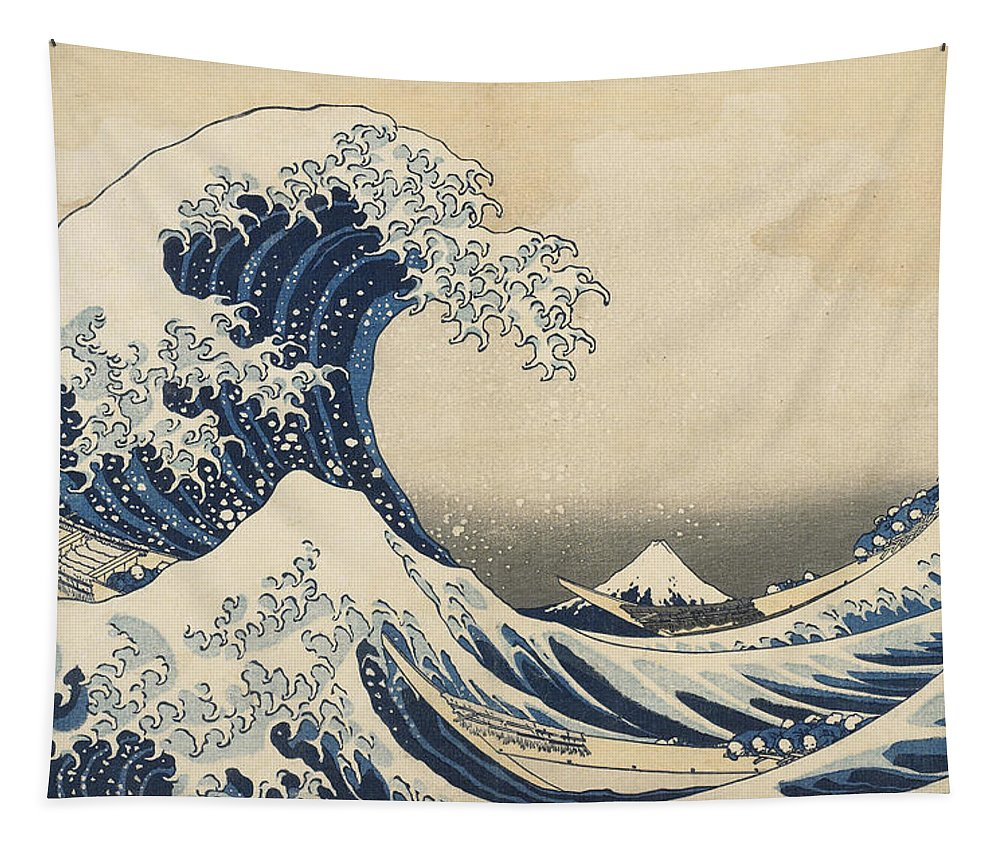 The Wave Tapestry featuring the painting Under the Wave off Kanagawa by Hokusai