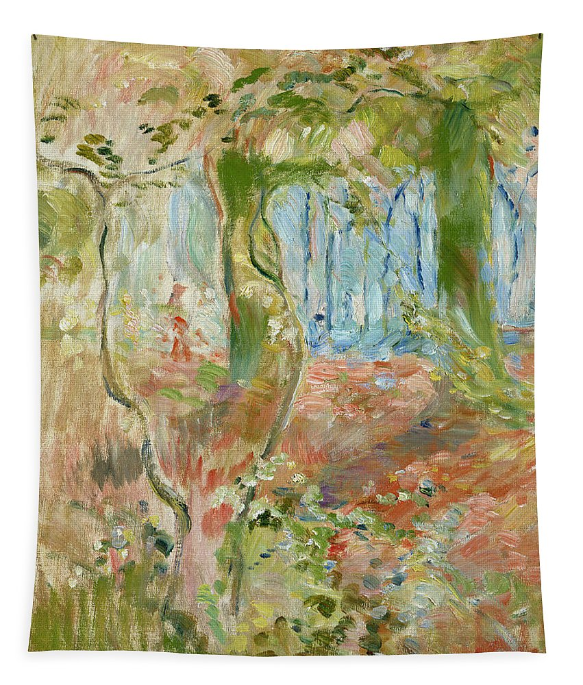 Sous-bois En Automne; Autumnal; Impressionist; Woodland; Wood Tapestry featuring the painting Undergrowth In Autumn by Berthe Morisot