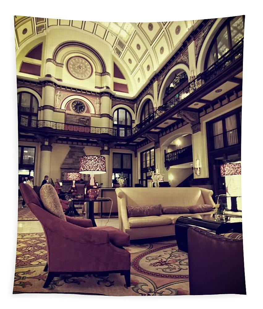 Union Station Interior Nashville Tennessee Tapestry featuring the photograph Union Station Lobby by Dan Sproul