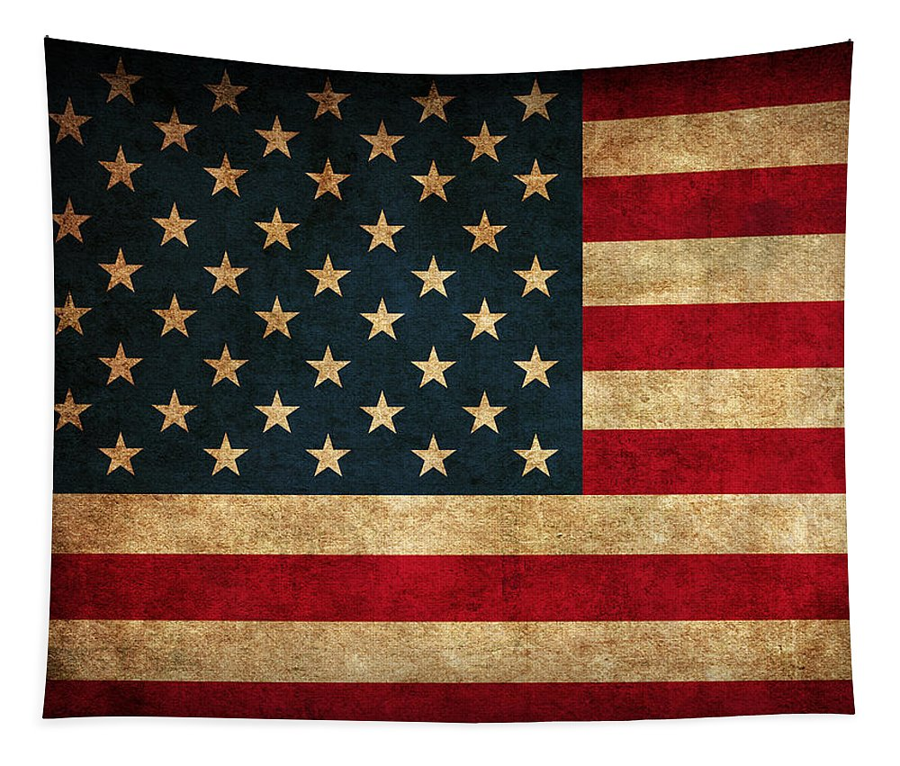 United States American Usa Flag Vintage Distressed Finish On Worn Canvas Tapestry featuring the mixed media United States American USA Flag Vintage Distressed Finish on Worn Canvas by Design Turnpike