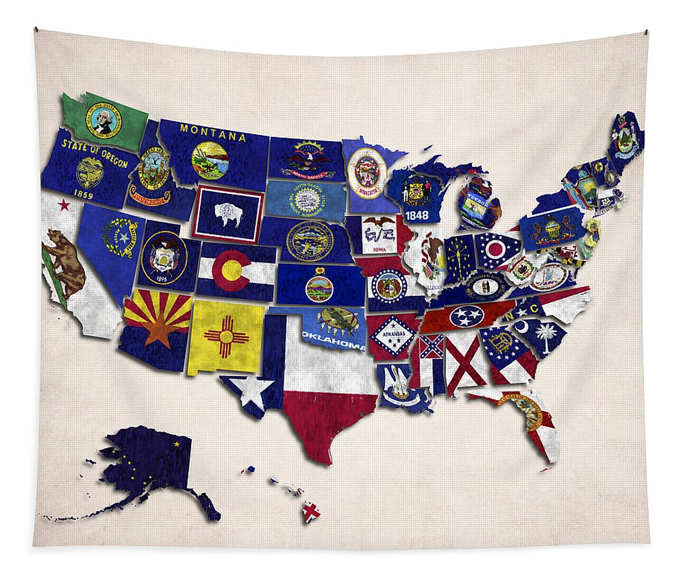 Alabama Tapestry featuring the digital art United States Map With Fifty States by World Art Prints And Designs