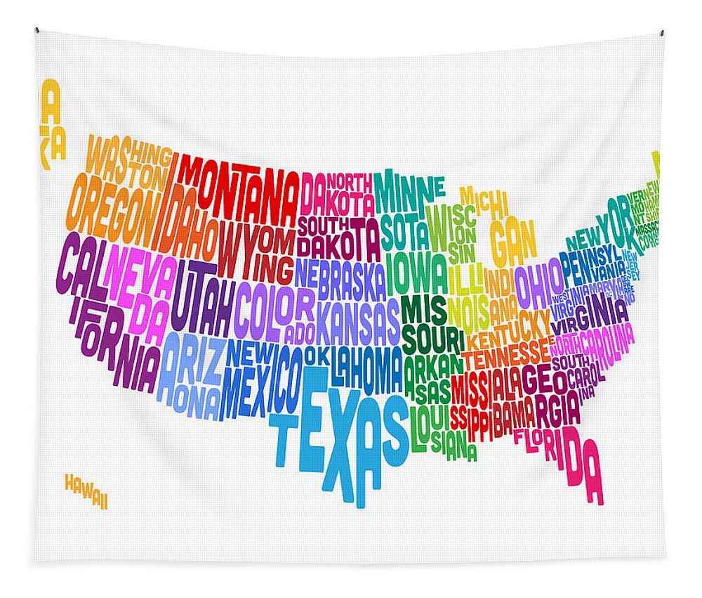 Usa Map Tapestry featuring the digital art United States Typography Text Map by Michael Tompsett