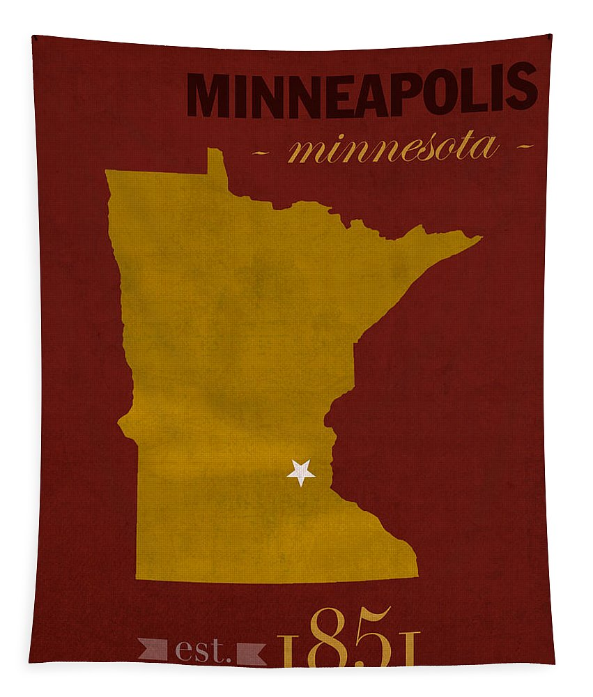 University Of Minnesota Tapestry featuring the mixed media University Of Minnesota Golden Gophers Minneapolis College Town State Map Poster Series No 066 by Design Turnpike
