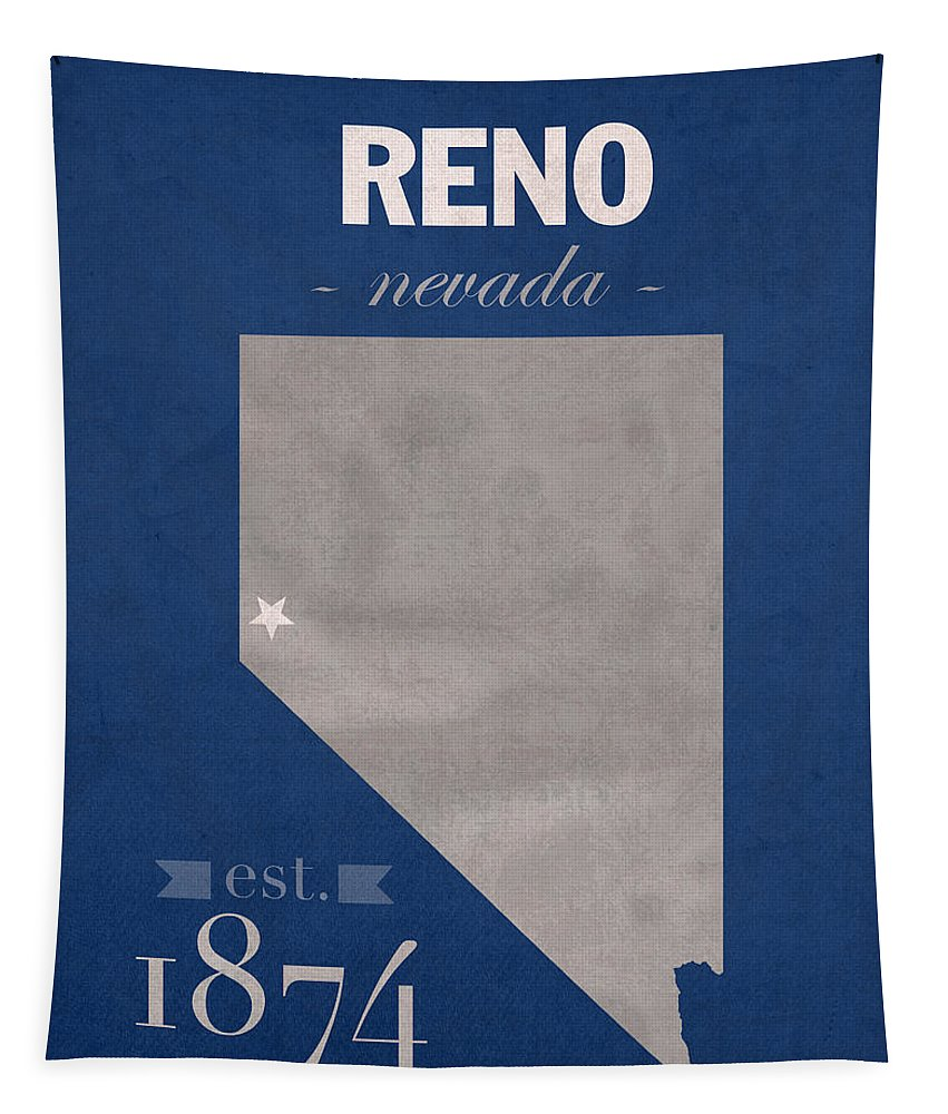 University Of Nevada Tapestry featuring the mixed media University Of Nevada Reno Wolfpack College Town State Map Poster Series No 072 by Design Turnpike