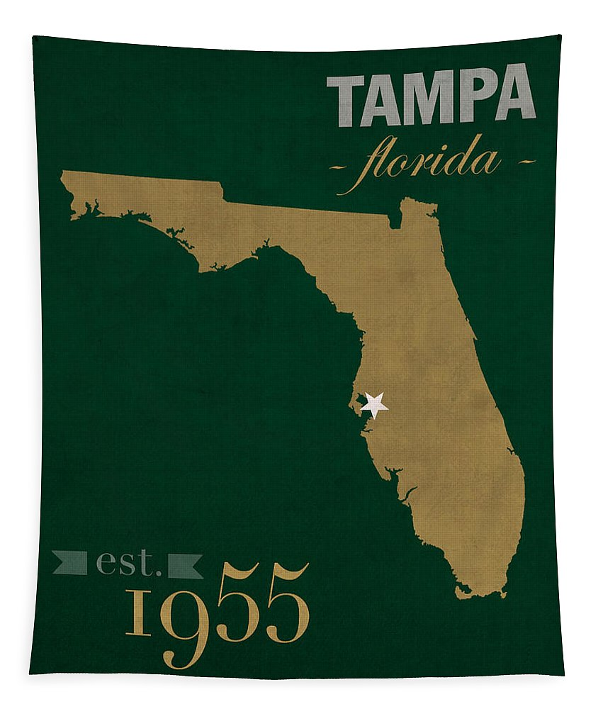 University Of South Florida Bulls Tampa Florida College Town State Map Poster Series No 086 Tapestry featuring the mixed media University Of South Florida Bulls Tampa Florida College Town State Map Poster Series No 101 by Design Turnpike