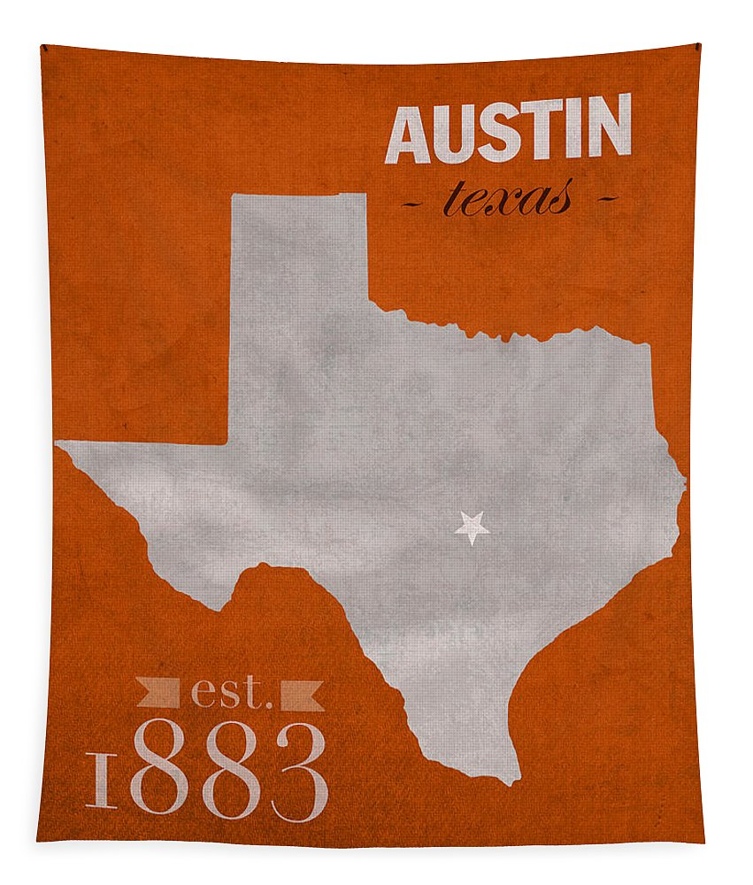 University Of Texas Tapestry featuring the mixed media University Of Texas Longhorns Austin College Town State Map Poster Series No 105 by Design Turnpike