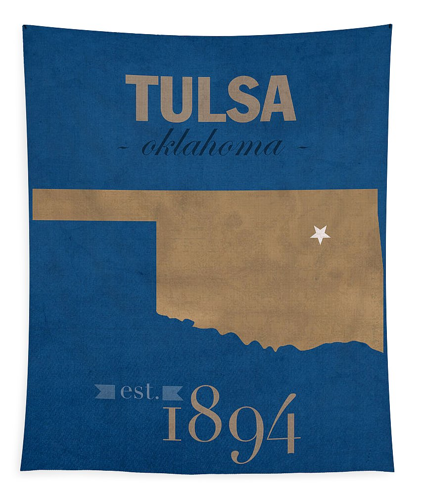 University Of Tulsa Tapestry featuring the mixed media University Of Tulsa Oklahoma Golden Hurricane College Town State Map Poster Series No 115 by Design Turnpike