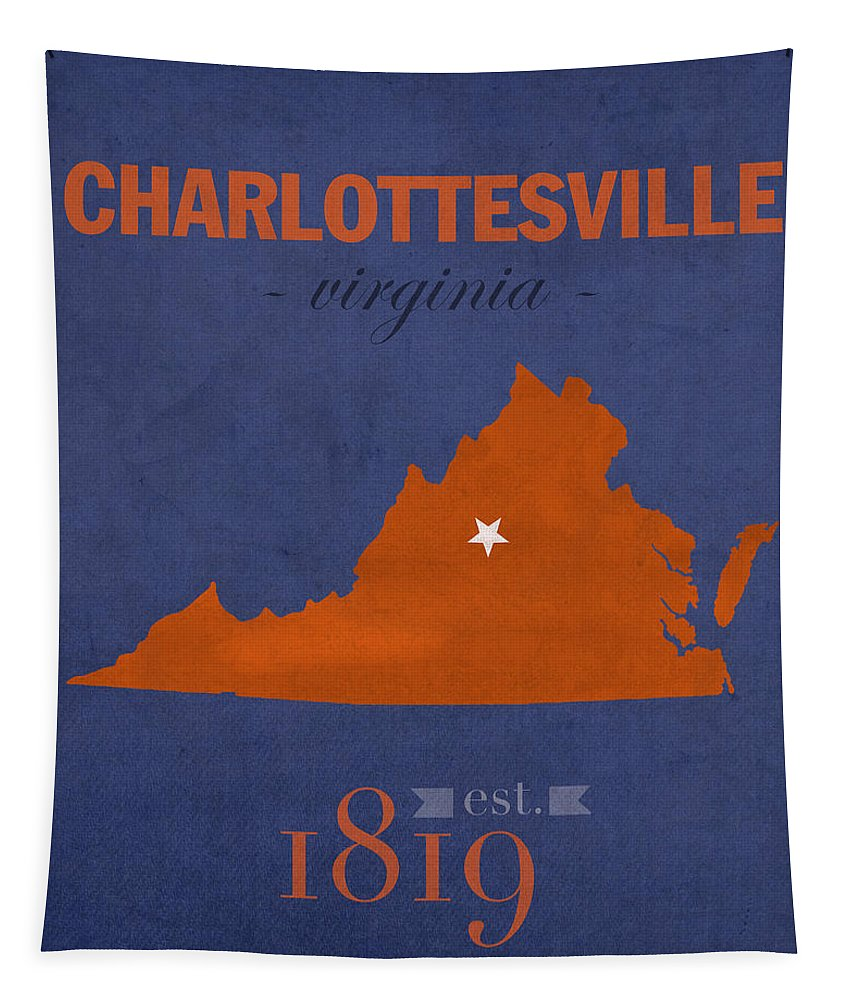 University Of Virginia Tapestry featuring the mixed media University Of Virginia Cavaliers Charlotteville College Town State Map Poster Series No 119 by Design Turnpike