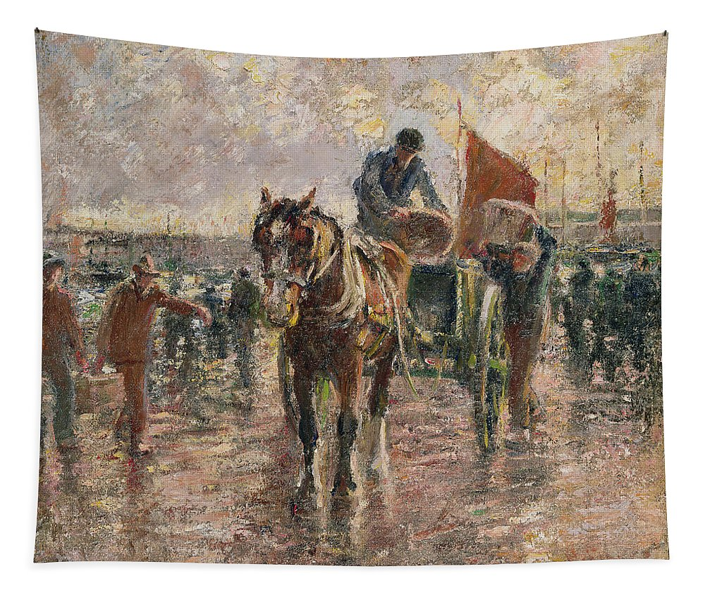 Horse Tapestry featuring the painting Unloading The Catch by Harry Fidler