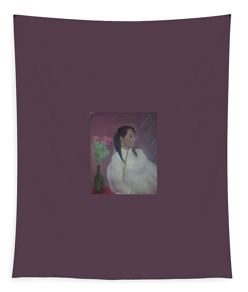 Woman Tapestry featuring the painting Untitled #2 by Sheila Mashaw