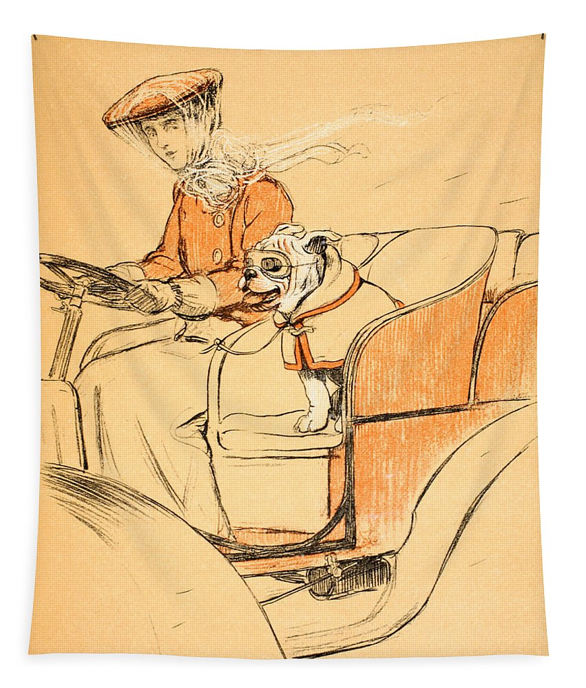 Motor Car Tapestry featuring the painting Up Front by Cecil Charles Windsor Aldin