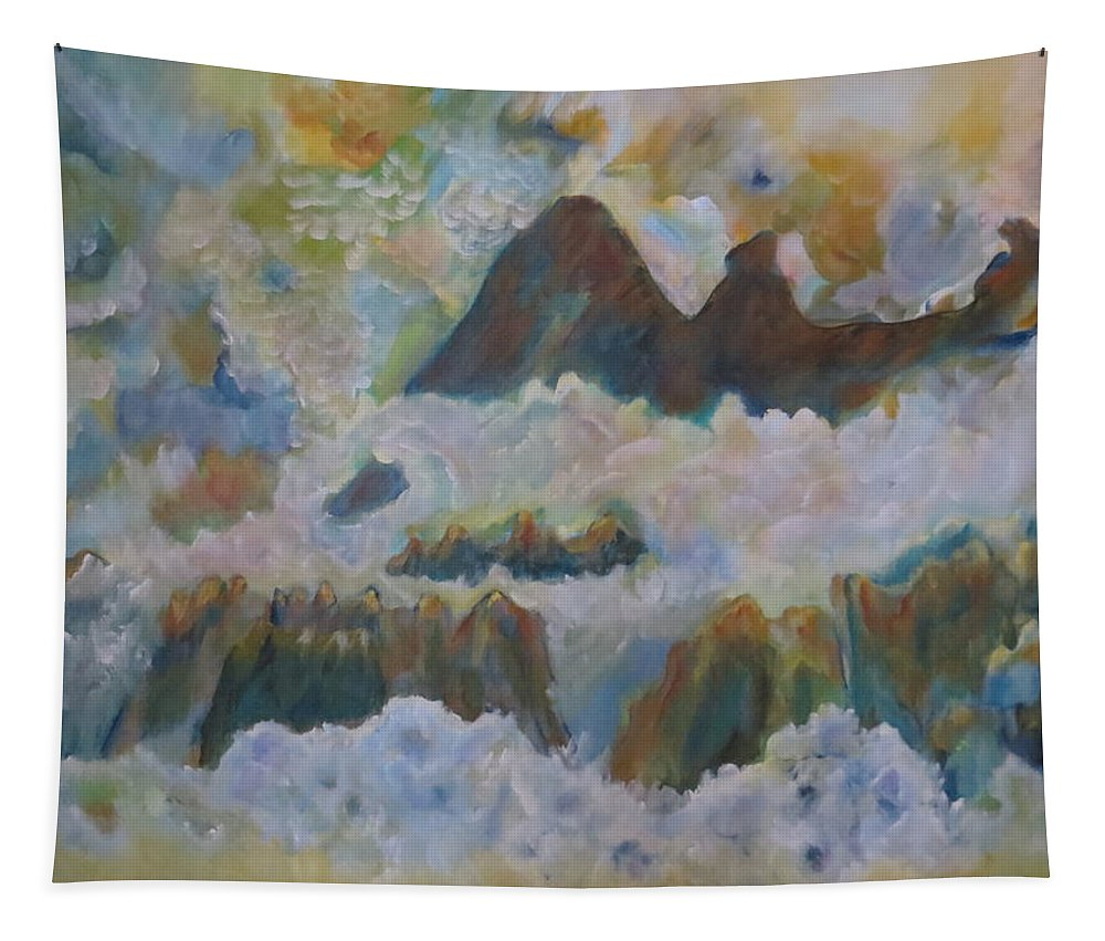 Abstract Tapestry featuring the painting Up On Cloud Nine by Soraya Silvestri