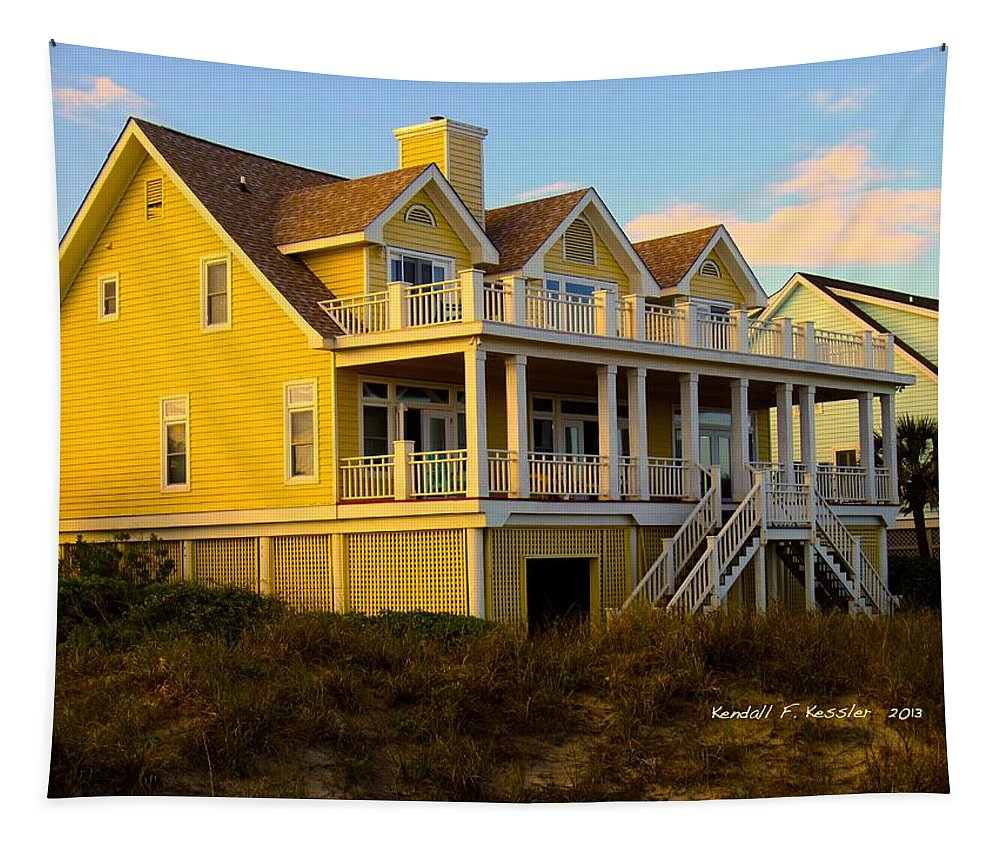 Kendall Kessler Tapestry featuring the photograph Up The Stairs At Isle Of Palms by Kendall Kessler