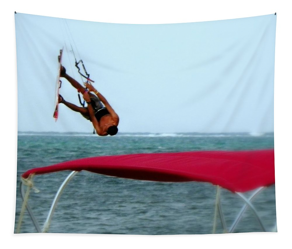 Wind Surfing Tapestry featuring the photograph Upside Down World by Karen Wiles