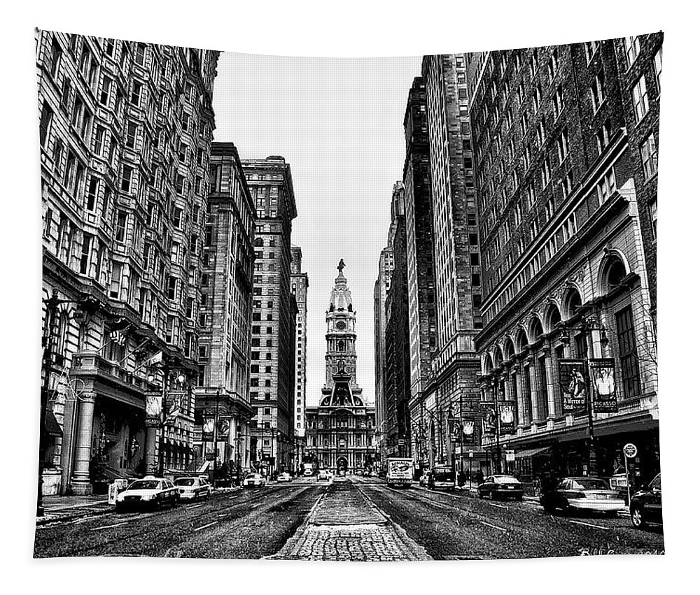 City Tapestry featuring the photograph Urban Canyon - Philadelphia City Hall by Bill Cannon