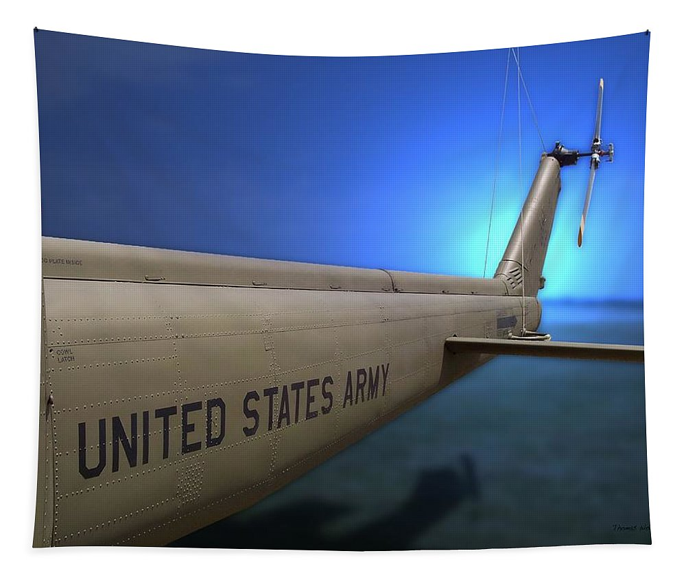Transportation Tapestry featuring the photograph Us Army Helicopter by Thomas Woolworth
