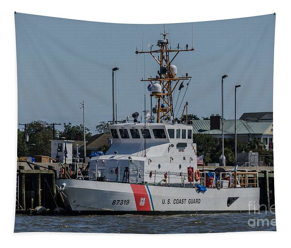 Uscgc Yellowfin Tapestry featuring the photograph Us Coast Guard Yellowfin by Dale Powell