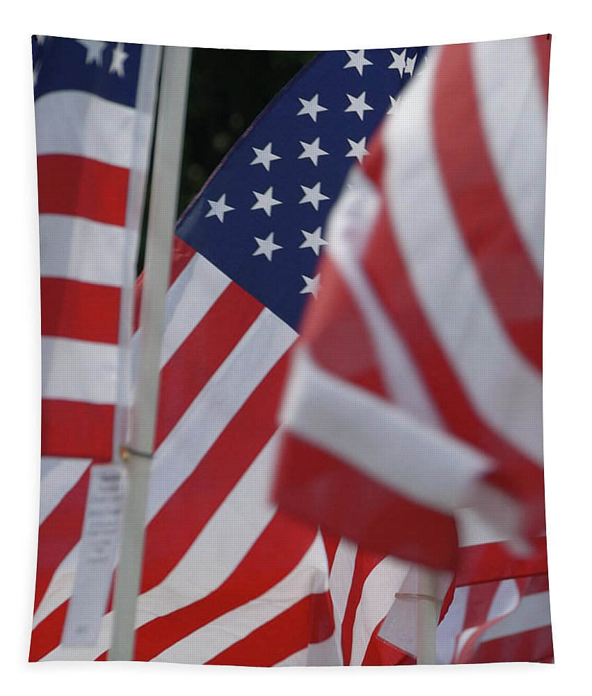 Usa Tapestry featuring the photograph Usa Flags 01 by Thomas Woolworth