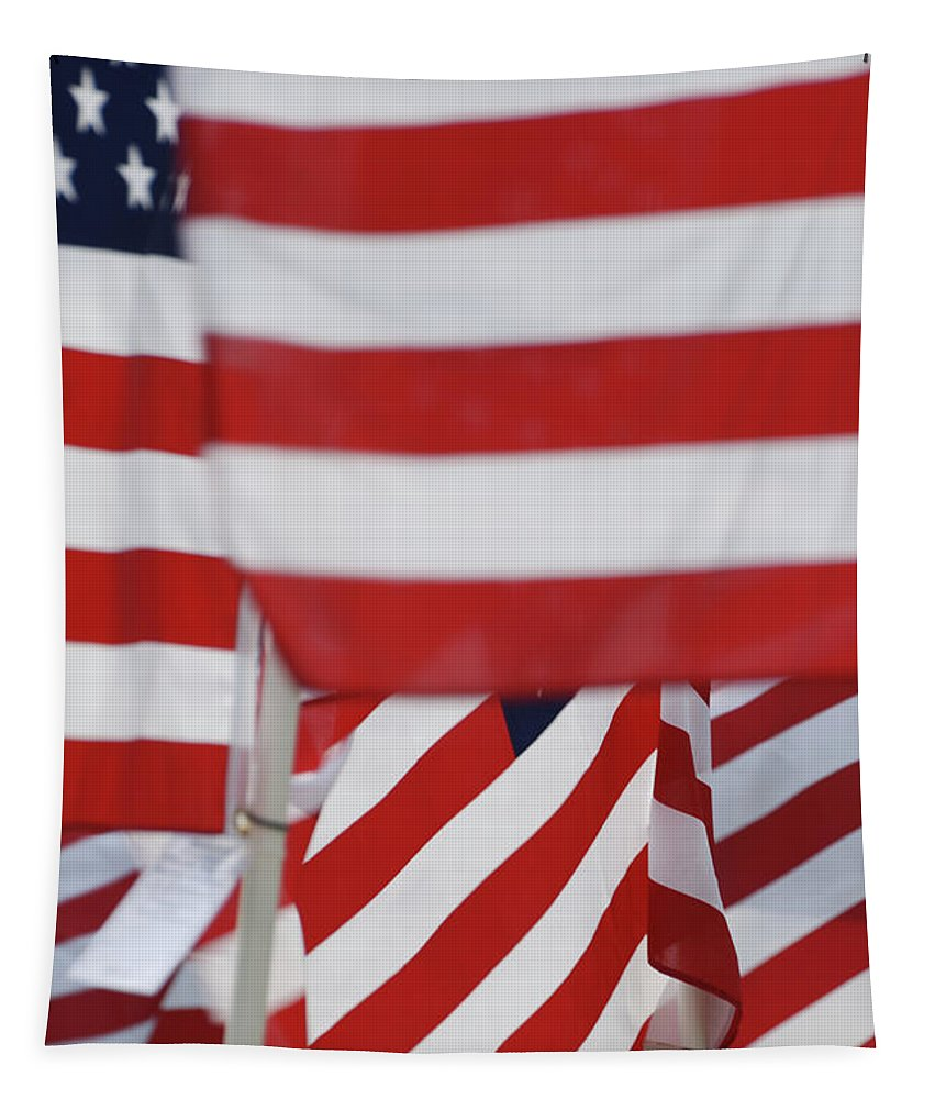 Usa Tapestry featuring the photograph Usa Flags 02 by Thomas Woolworth
