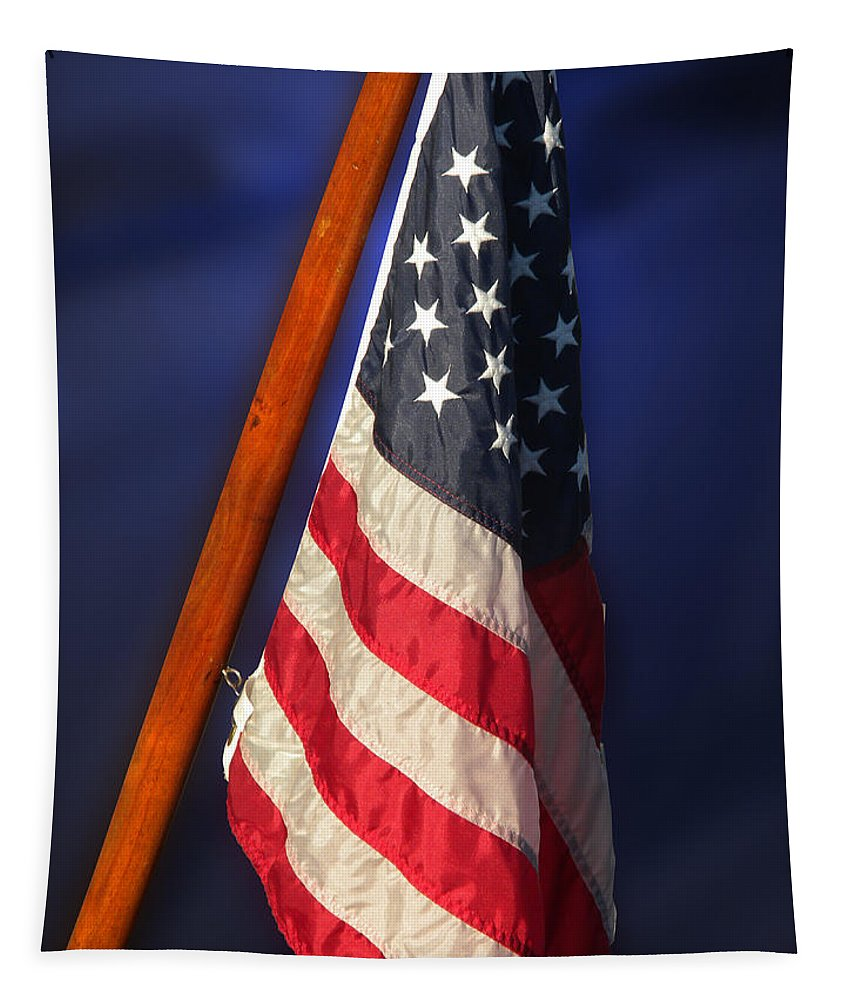 Usa Tapestry featuring the photograph Usa Flags 08 by Thomas Woolworth