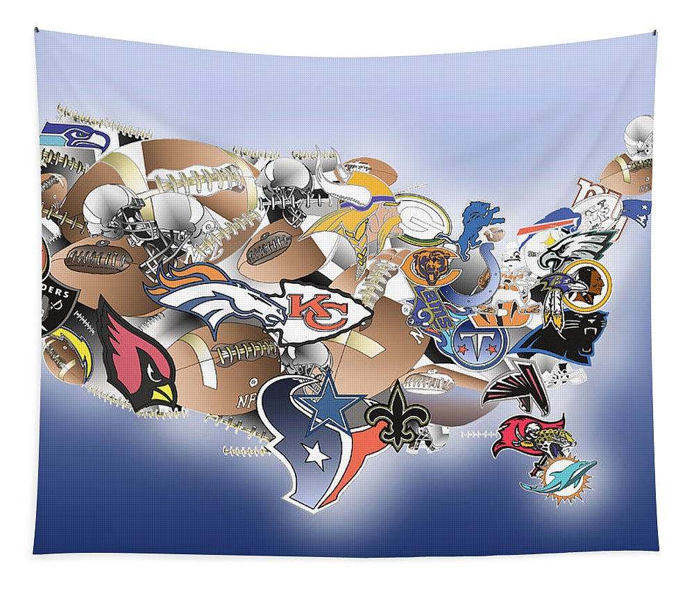 Usa Nfl Map Collage Tapestry For Sale By Bekim Art