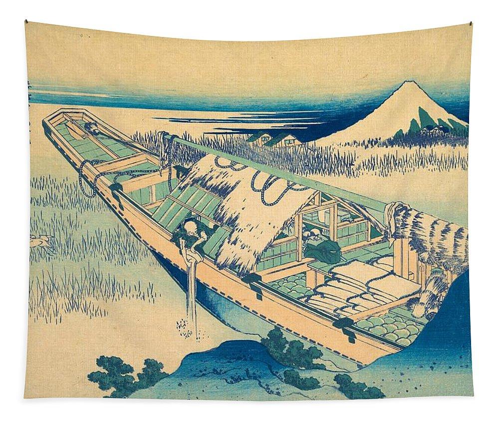 1830-1832 Tapestry featuring the painting Ushibori In Hitachi Province by Katsushika Hokusai