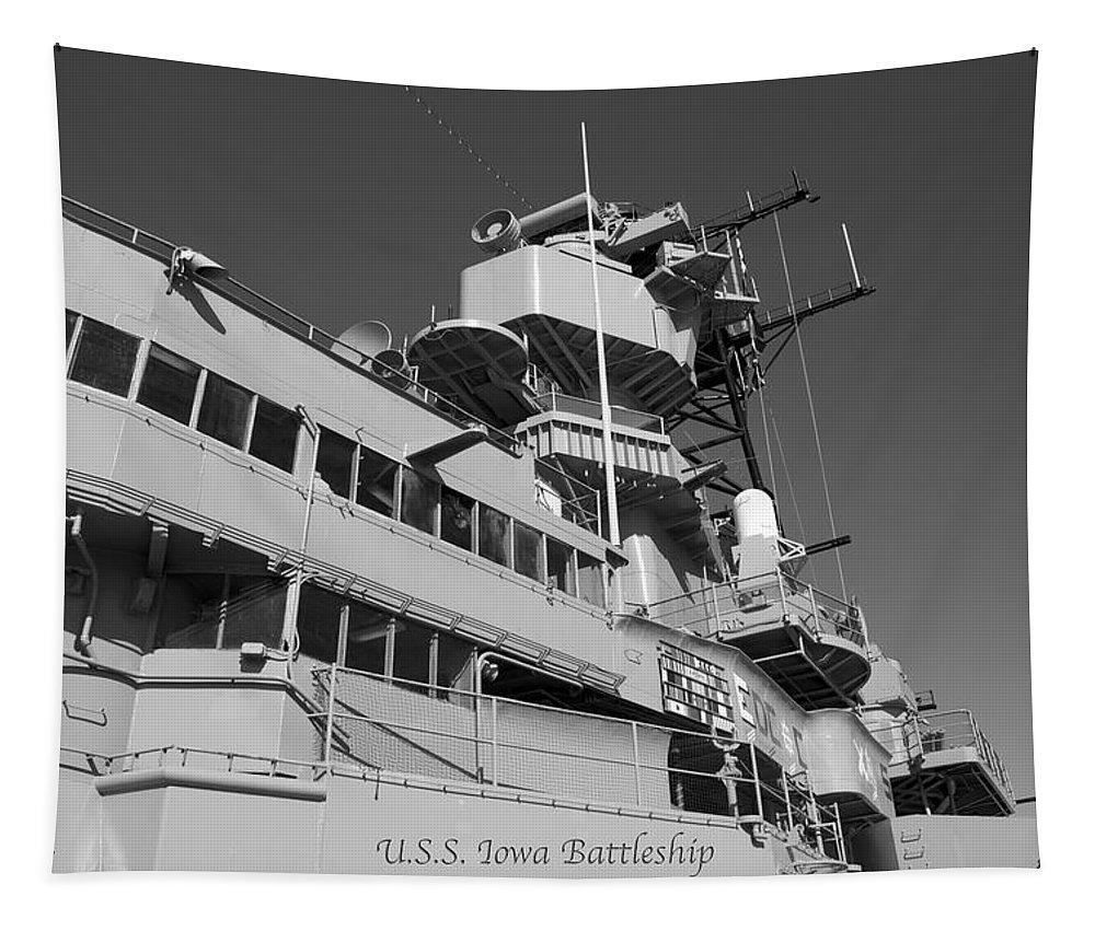 Uss Iowa Tapestry featuring the photograph Uss Iowa Battleship Portside Bridge 01 Bw by Thomas Woolworth