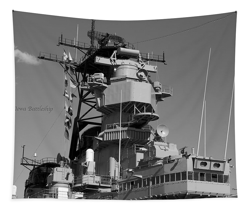 Uss Iowa Tapestry featuring the photograph Uss Iowa Battleship Starboardside Bridge 02 Bw by Thomas Woolworth