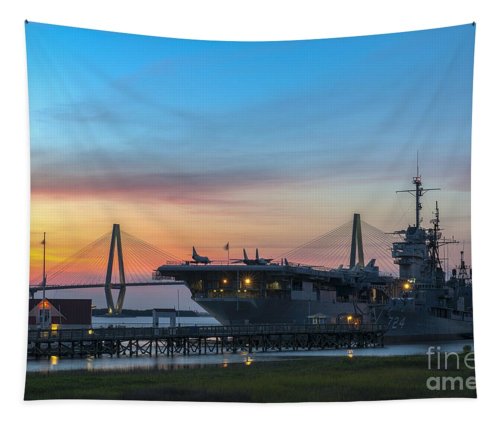 Sunset Tapestry featuring the photograph Uss Yorktown Sunset by Dale Powell