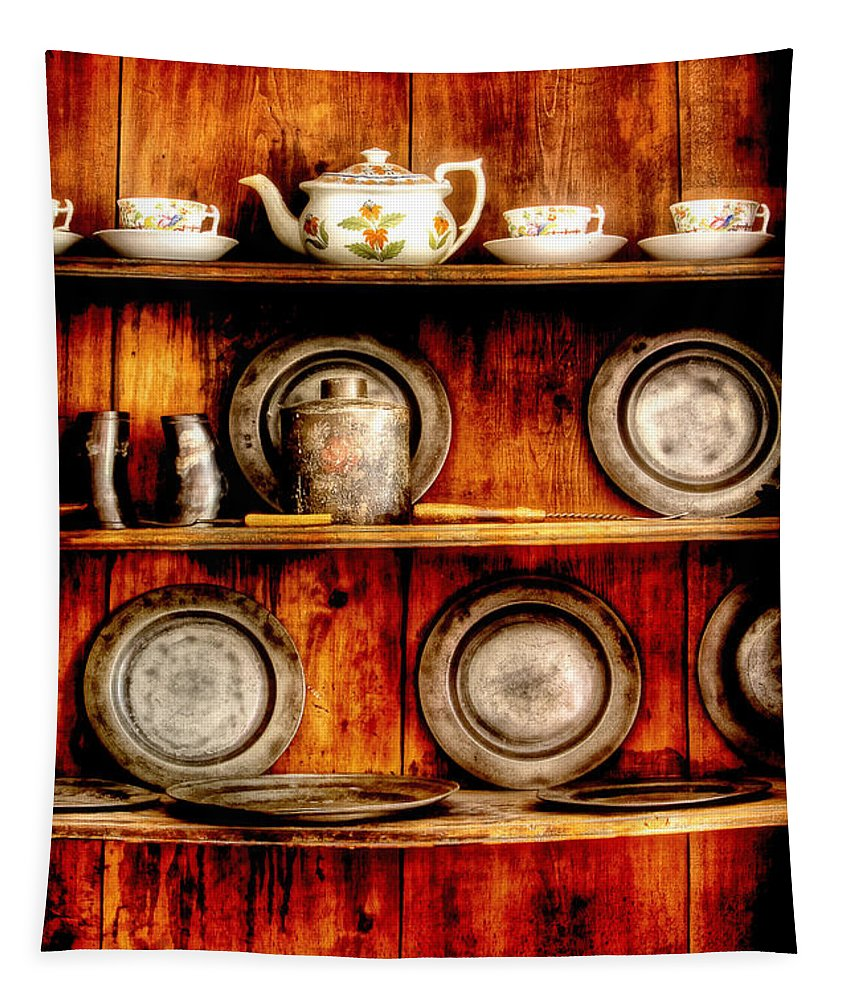 Kitchen Tapestry featuring the photograph Utensils - In The Cupboard by Mike Savad