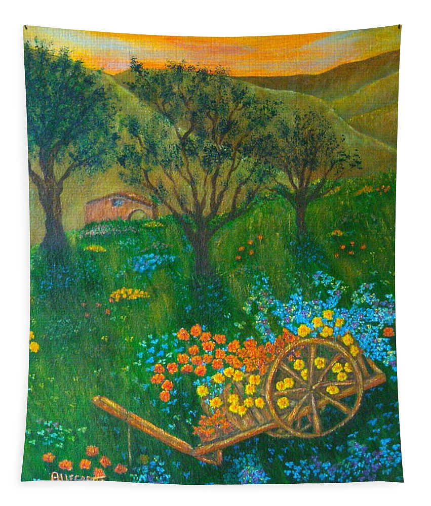 Pamela Allegretto Tapestry featuring the painting Val D'orcia by Pamela Allegretto